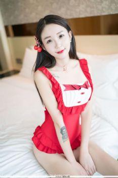新人模特白沫 红色喜庆内衣